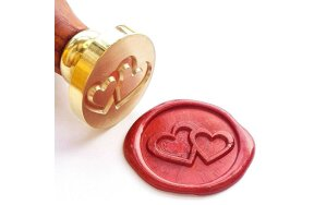WAX SEAL STAMP TWIN HEARTS